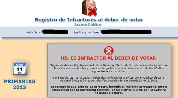 Ya se puede consultar el registro de infractores al deber de votar