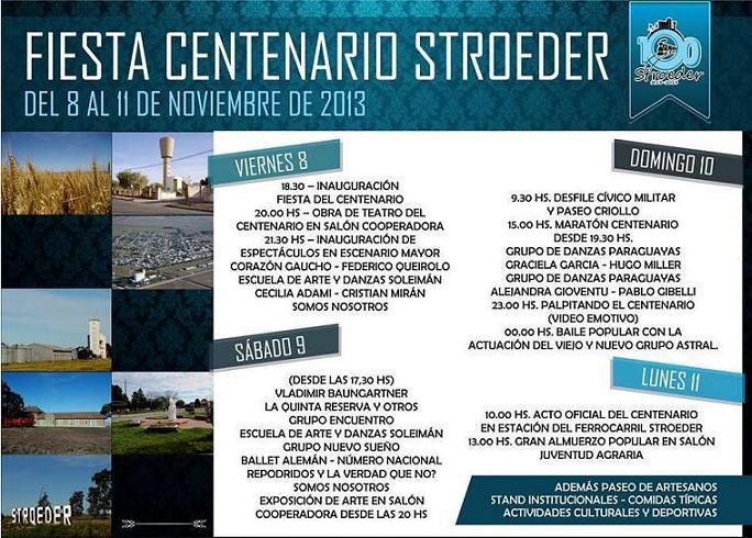 Cronograma de la Fiesta del Centenario de Stroeder