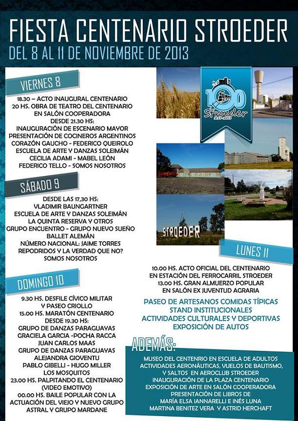 Cronograma de actividades en la Fiesta del Centenario de Stroeder