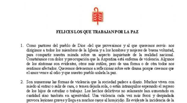 """Muy duro documento de la Iglesia: """"La Argentina está enferma de violencia"""""""